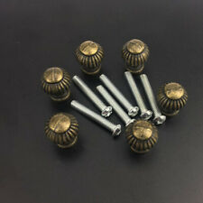 6X Brass Pumpkin With Bolt Jewelry Box Cabinet Knobs Drawer Vintage Pull Handle