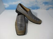 GIORGIO BRUTINI Alligator Gray Green Suede Leather Loafers Dress Shoes 10M