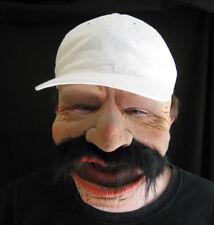 Old Man Big Mustache Funny Robert Zagone Adult Latex Halloween Mask & Cap