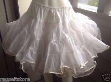 Square Dance Petticoat Skirt WHITE Tulle 3 Tier 2 Layer VTG Rockabilly Crinoline