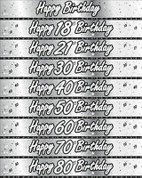 9ft SILVER & WHITE BIRTHDAY  BANNERS 27cm  AGE 18 TO 80  IDEAL PARTY DECORATIONS