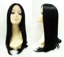 Pre-Trimmed Lace Front Black Wig Heat Resistant Long Straight Cher Morticia Goth