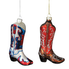 Cowboy Boot Glass Ornament