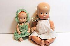 "Lot of 2 Antique  Baby Dolls  Composite1920s 9"" & 1950s Hard plastic 7"""