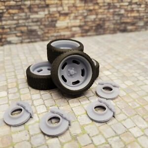 """1/24 Scale 3D Printed 20"""" Staggered Depth Mag Wheels w Tires & Brakes"""