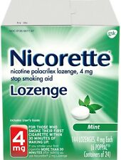 Nicorette Stop Smoking Aid Nicotine Lozenge, Mint Flavor 4 mg 144 ea (Pack of 9)