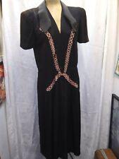 Vintage 1930's 40's Black Rayon Velvet Beaded Dress Size Medium As is