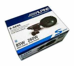 "Pair ALPINE S-S69C 260 Watt 6x9"" Car Component Speakers w/1"" Silk Dome Tweeters"