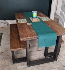 Reclaimed Dining Table Black Steel Square Frame Legs