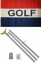 3x5 Advertising Golf Golfing Red White Blue Flag Aluminum Pole Kit Set 3'x5'