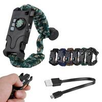 LED Paracord Bracelet Tactics Survival Gear Kit 9-IN-1 Compass LED SOS JA