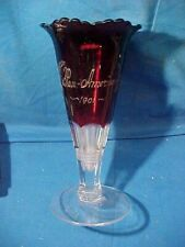 """1901 PAN AMERICAN EXPOSITION Buffalo ETCHED RUBY GLASS Souvenir VASE 6"""""""