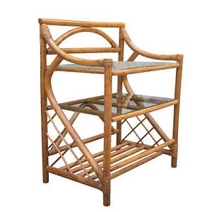 Vintage Boho Bent Rattan Glass Top Bookshelf Bamboo End Table