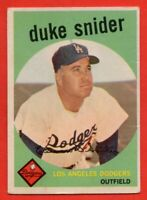 1959 Topps #20 Duke Snider VG-VGEX WRINKLE Brooklyn Los Angeles Dodgers FREE S/H