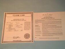 New ListingDanbury Mint Paperwork 1958 Chevrolet Impala Convertible Title & Care Info