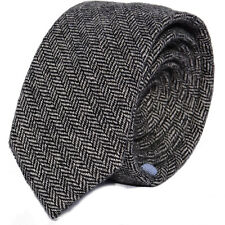 Luxury Gentlemens Country Grey Herringbone Tie Tweed Woven Wool Style Tartan