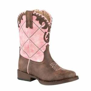 Roper Lacy Checkered Square Toe    Toddler Girls  Western Cowboy Boots   Mid