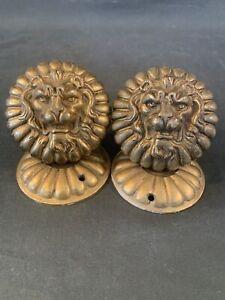 Set Vintage Brass Lion Head Door Knobs & Escutcheons - Antique French Hardware