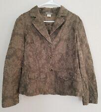 TOMMY BAHAMA Blazer Jacket Large Moss Green Floral Silk Cotton Blend Sz L