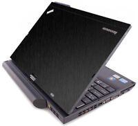 BLACK BRUSHED TEXTURED Vinyl Lid Skin fit IBM Lenovo ThinkPad X220T X230T Laptop
