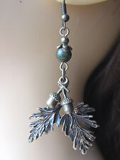 Bronze Leaves & Acorns Earrings Unakite Gemstone Beads Pagan Hedgewitch