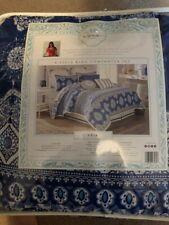 Dena Home Aria Porcelain Blue Medallion 4Pc King Comforter Set Shams Skirt-new