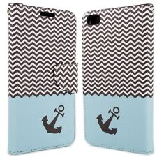 for HTC One X9 Wallet Case - Blue Chevron Design Folio Phone Pouch