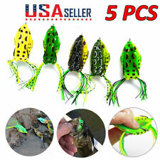 5 Pcs Cute Frog Topwater Fishing Lure Crankbait Hooks Bass Bait Tackle Us