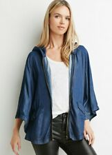 NEW Forever 21 Contemporary Hood Casual Jacket Dark Denim Women's US Size Small