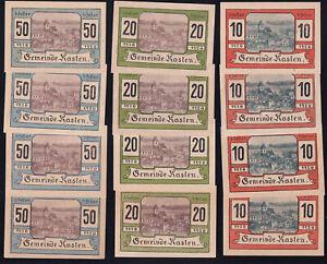 12x Österreich Austria Kasten: je 4x 10, 20 + 50 Heller 1920 - Gemeindestempel²