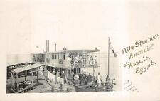 RPPC NILE STEAMER SHIP AMASIS AT ASSUIT EGYPT MAINE REAL PHOTO POSTCARD 1904