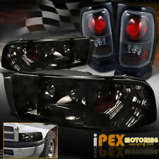 For 94-01 Dodge Ram 1500 2500 3500 Shiny Smoked Headlights With Black Tail Light