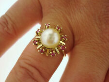 TOP Ring 585 Gold Akoya Perle 8 Rubine Anello Bague Oro 14K 3,6 g