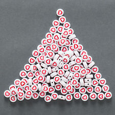 100 Mixed White Color Red Heart Pattern Acrylic Beads Round Spacer 7mm