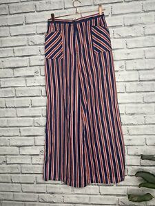 True Vintage 70s St Michael High Waisted Trousers Red Blue Striped