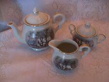 Avon Tea Set - Teapot, Sugar Bowl with Lid and Creamer - Winter Village