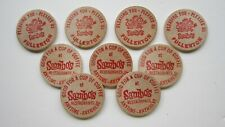 "VINTAGE WOODEN NICKEL TOKENS FOR FREE COFFEE AT ""SAMBO'S""--FULLERTON, CA."