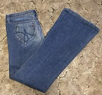 Juicy Couture Estilo Jeans Size 31 Tall Flared Heart Pockets Inseam 34 in.