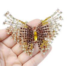 Brosche Anstecknadel Kristall Strass Schmetterling braun goldfarben Nadel edel