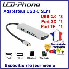 Adaptateur Cache TypeC 5 En 1 Port Carte SD / TF+ 3*USB 3.0 pour Macbook Pro Mac