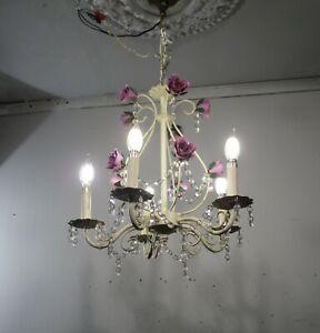 Vintage Tole Chandelier 5 Light Roses Pendant Lamp Fixture Crystals