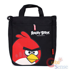 "Angry Birds Canvas Tote Bag 13"" Shoulder Bag -Red Bird in Black Rovio Licensed"