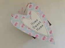 Vintage Wooden Hanging Floral Heart Plaque Sign Shabby Chic Home Sweet Home Gift