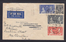 STRAITS SETTLEMENTS 1937 CORONATION AIR MAIL COVER TO AUSTRALIA