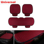3PCS Wine Red Breathable Car Seat Cover Set Four Seasons Front Rear Flax Cushion