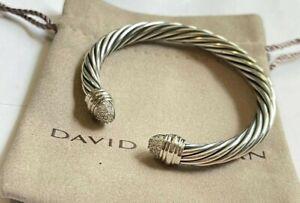 David Yurman 7mm Classic Sterling Silver Diamond Tip Cuff Bracelet Small