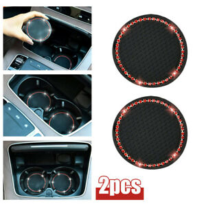 2Pcs 7cm Car Coasters for Cup Holders Rhinestone Accessories Cup Holder Car Mats