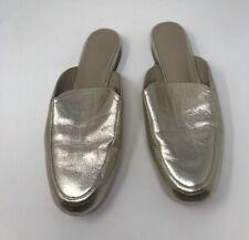 Joie Metallic Gold Leather Smoking Mules Slip On Round Toe Womens Size 10