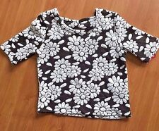 NWT Girls Black Short Sleeve Xhilaration Floral Top XS 4/5
