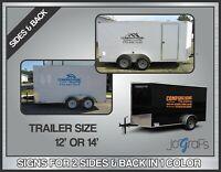 Custom Trailer 12' Vinyl Signs Lettering Company Decals 2 Sides & 1 Back 1 Color